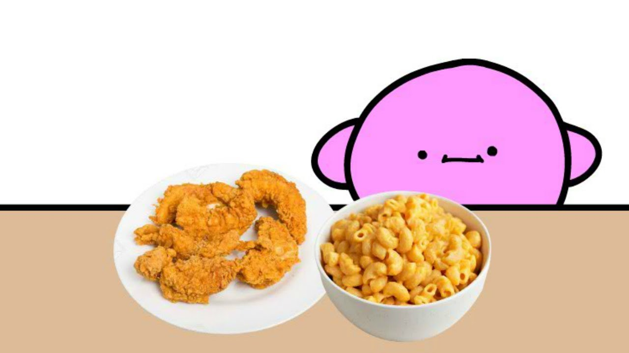 kirby enjoys macaroni with the chicken strips