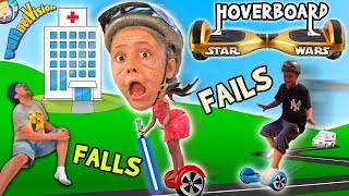 Little Granny Lightsaber! HOVERBOARD Family Fails and Falls! Star Wars FV Family Vlog