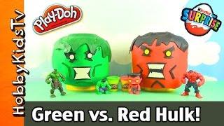 Play-Doh Giant LEGO Head Green Hulk vs. Red Hulk Makeover! Surprise Egg HobbyKidsTV