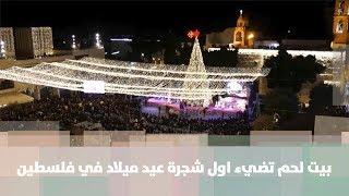 بيت لحم تضيء اول شجرة عيد ميلاد في فلسطين