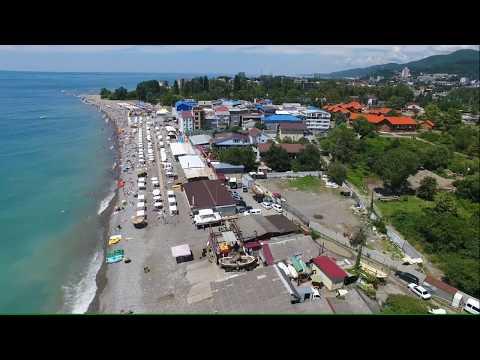 Лазаревское пляж Рыбацкий поселок и популярный БАГРАТИОН 4К(полный экран)