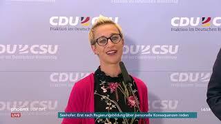 Statements von Ralph Brinkhaus und Nadine Schön zur Fraktionssitzung der Union am 16.10.18