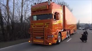 Truckshow Ciney 2018 - trucks are leaving with loud pipes