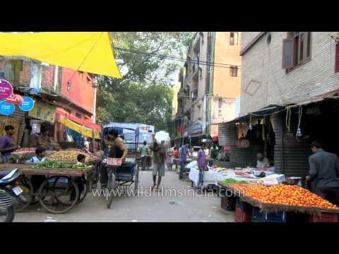 Vegetable market in Patel Nagar, Delhi