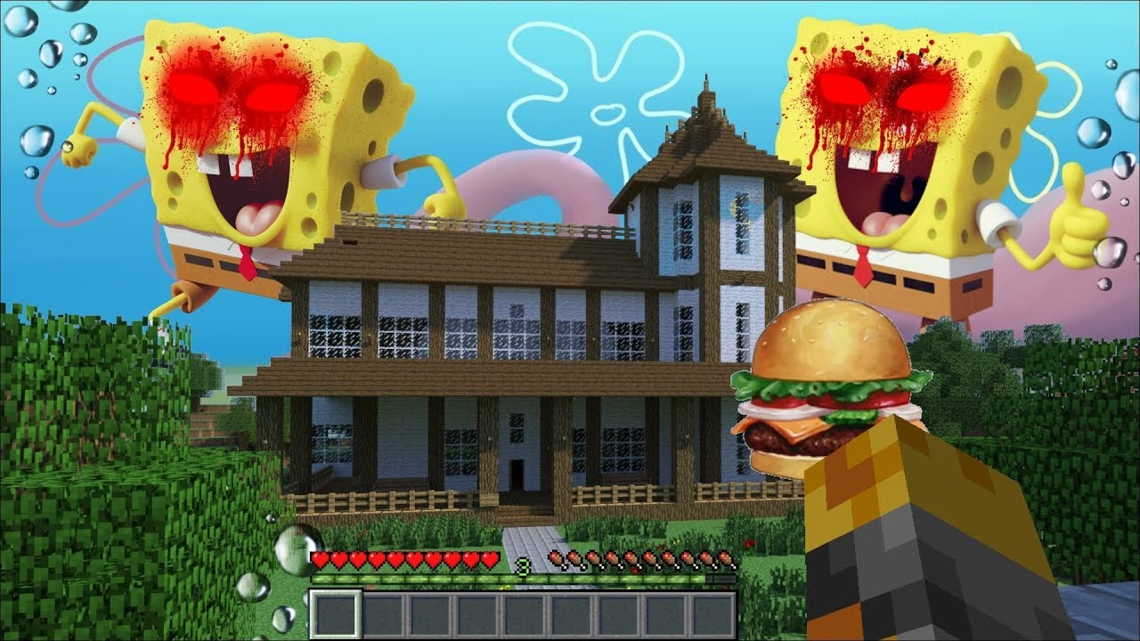 Giant Evil Spongebob Appear In Our House In Minecraft    Survive Evil Sponge Attack    Minecraft