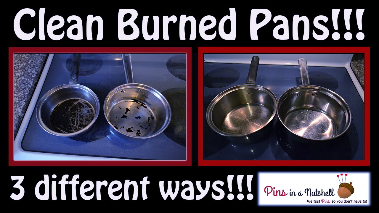 watch 3 ways to clean burned pots and pans
