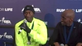 Bernard Lagat and Abdi Abdirahaman talk after the 2013 NYC Half Marathon
