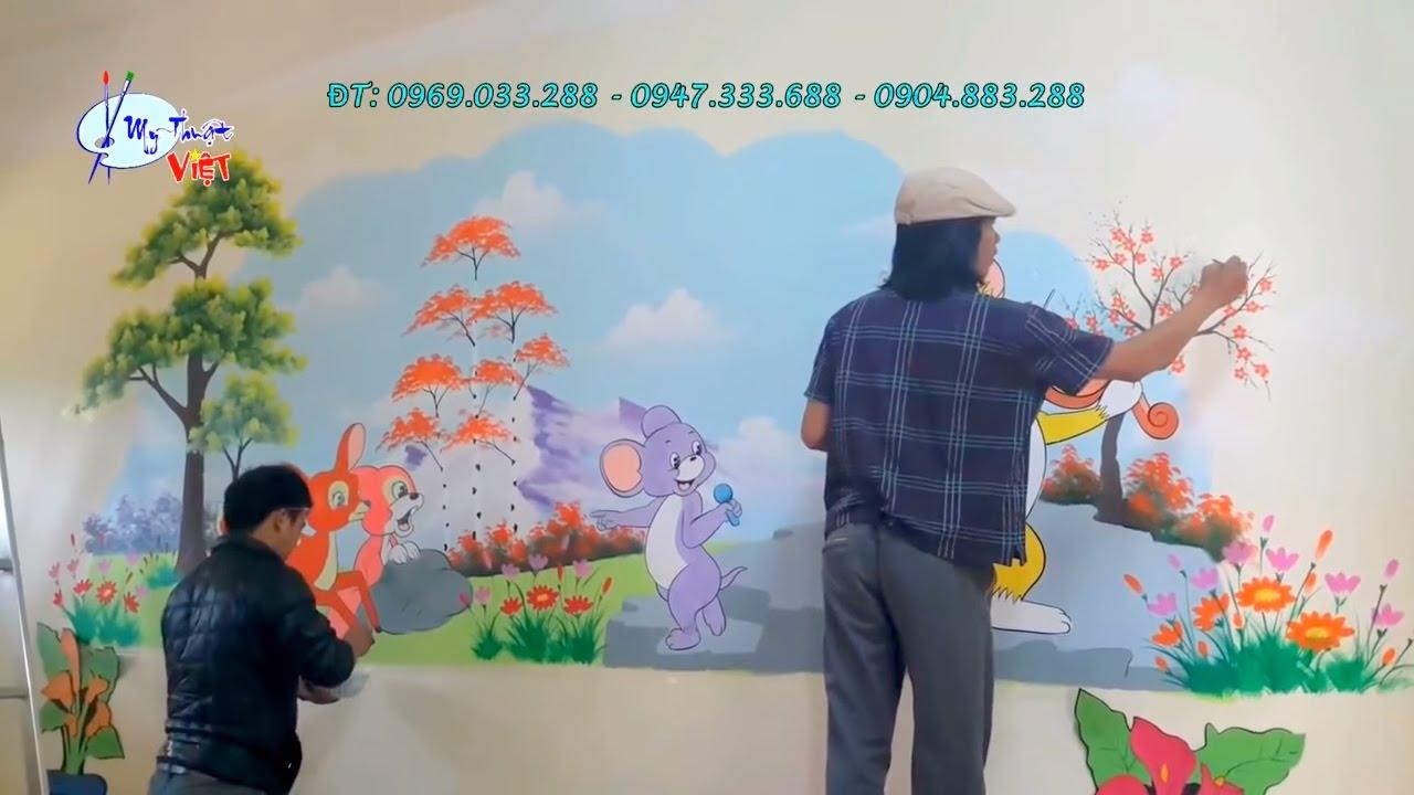 vẽ tranh tường mầm non Hà Nội, trang trí trong lớp, nhận thi công trên toàn quốc