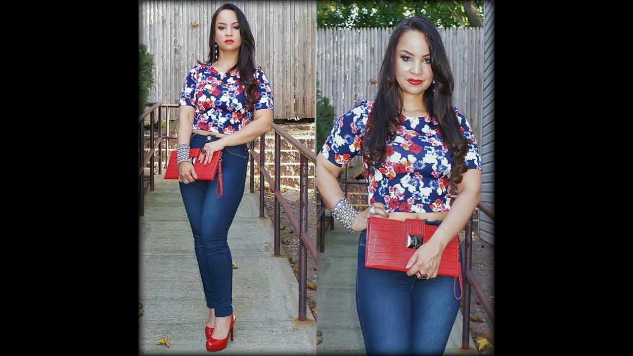 High Waisted Jeans Outfit With Crop Top * Stylo 150♥ - YouTube