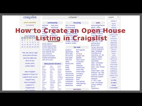 How to Create an Open House listing in Craigslist - YouTube