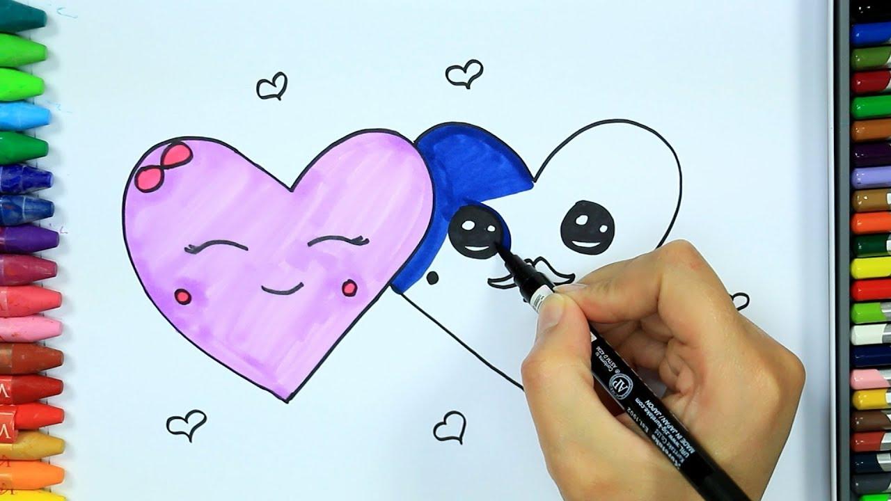 Dibujos para pintar y colorear 💙| Cómo dibujar corazón | Colores para niños | Cómo colorear #1
