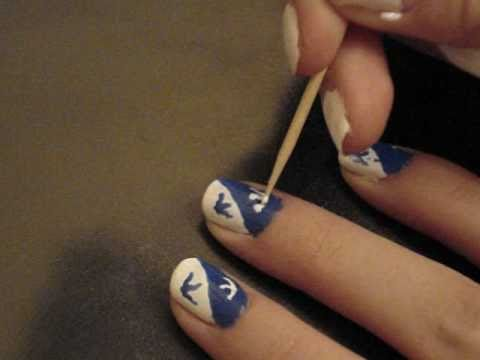 blue and white pattern for short nails blaues weies muster fr kurze ngel - Nails Muster