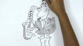 How to Draw a Saxophone Player