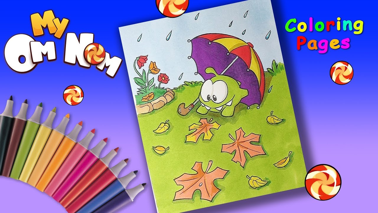 Om Nom Stories Coloring Book. Om Nom with umbrella Coloring pages ...