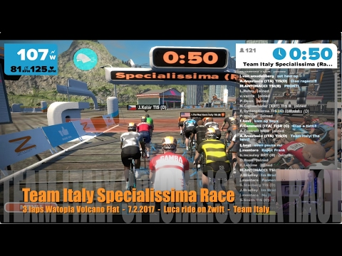 Team Italy Specialissima Race - 3 laps Watopia Volcano Flat - 7.2.2017 - Luca ride on Zwift