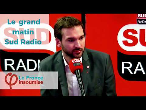 "Ugo Bernalicis invité du ""Grand matin"" sur Sud Radio."