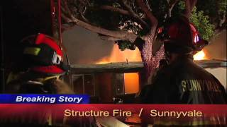 Sunnyvale California:  Stubborn Structure Fire Destroys Home. ((HD))