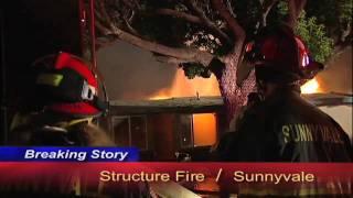 Sunnyvale California:  Stubborn Structure Fire Destroys Home. ((HD))