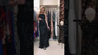 G 2258 Платье вечернее из ткани с бахромой в виде паетки video