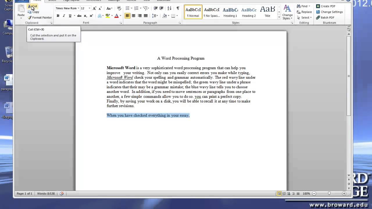 Microsoft Word Tutorial - Basics