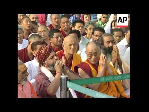 Dalai Lama at morning prayers