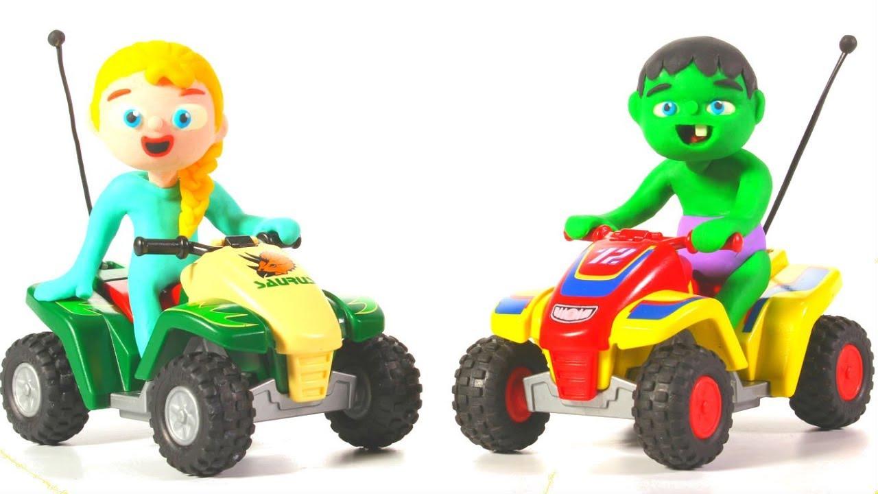 SUPERHERO BABIES ON MINI QUADS ❤ Spiderman, Hulk & Frozen Play Doh Cartoons For Kids