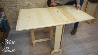 Wooden folding table / How to make a folding table / Folding dining table