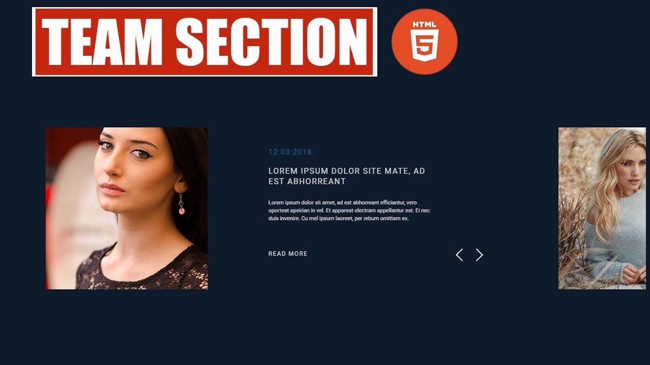 Our Team section with Slider and TweenMax -Html 5 and css 3