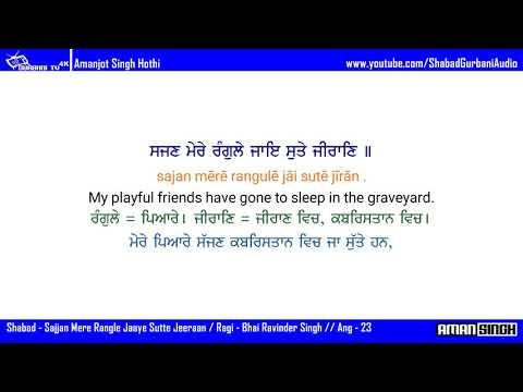 Sajjan Mere Rangle /Bhai Ravinder Singh/Shabad Gurbani/Eng translation,Eng+Pbi Meaning/4k