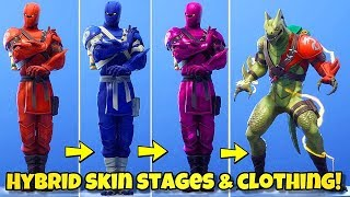 NEW HYBRID SKIN STAGES & COLORS! DRAGON OUTFIT MAX STAGE - Fortnite BR ( ALL HYBRID STYLES)