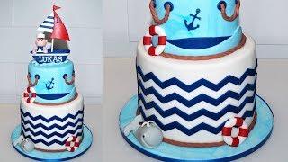 Cake decorating tutorial | NAUTICAL theme fondant cake | Sugarella Sweets