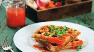 Homemade Sriracha With Savory Waffles