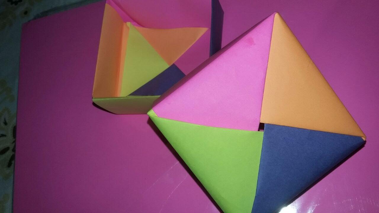 Caixa De Origami Com Tampa Colorida Youtube
