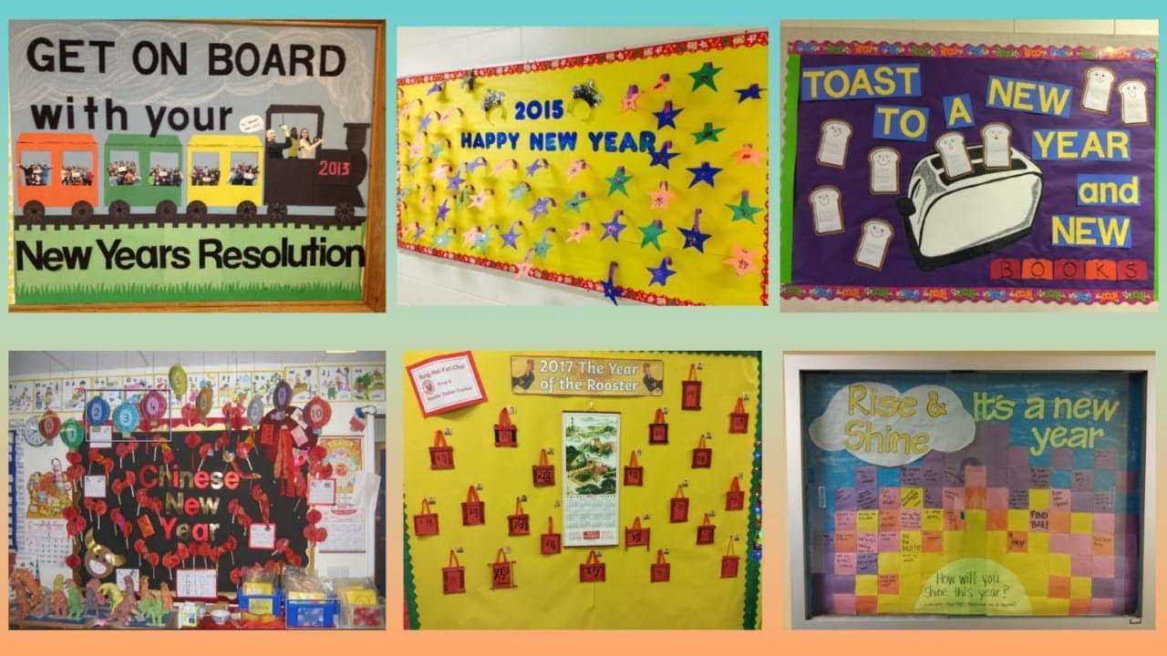 New Year school display board ideas | Notice board on New ...