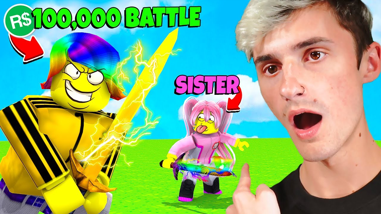 Download I bet $100,000 ROBUX versus my SISTER.. (Roblox)