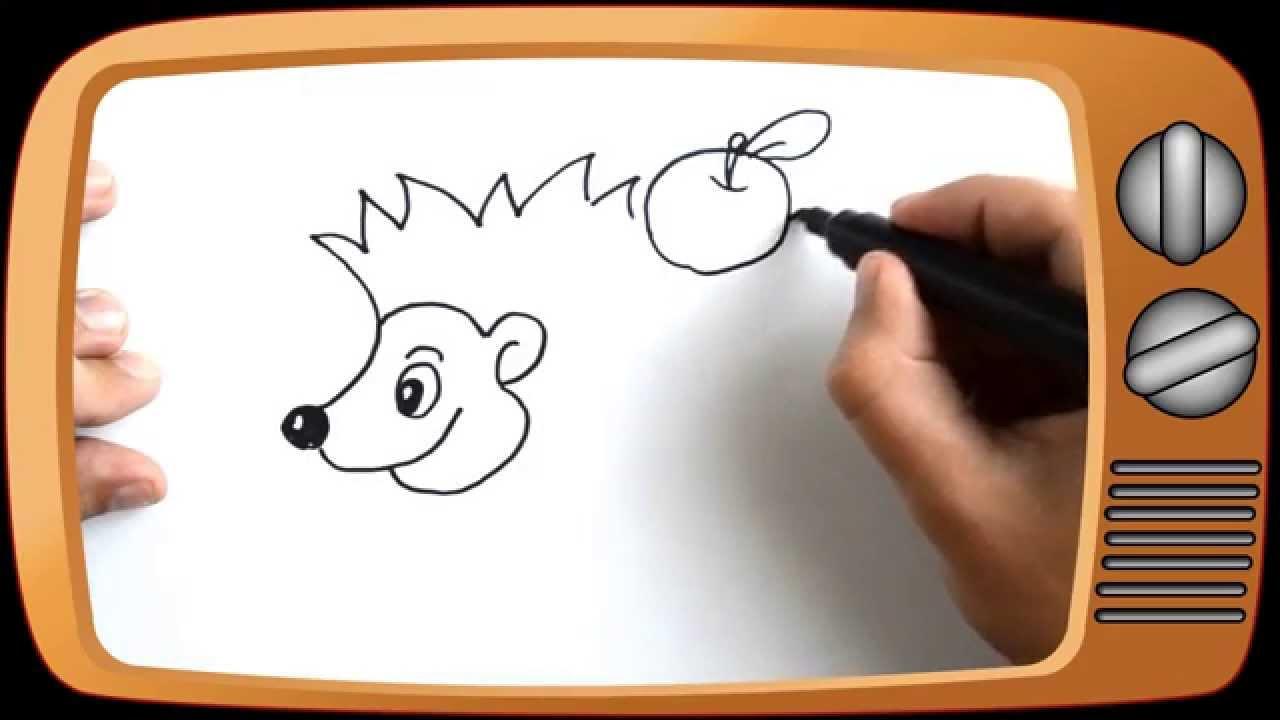 картинка ежик с яблоком для детей