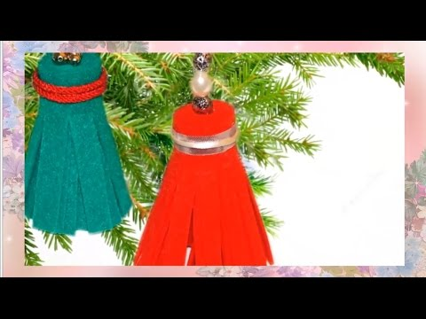 Смотреть онлайн Украшения для новогодней елки из фетра