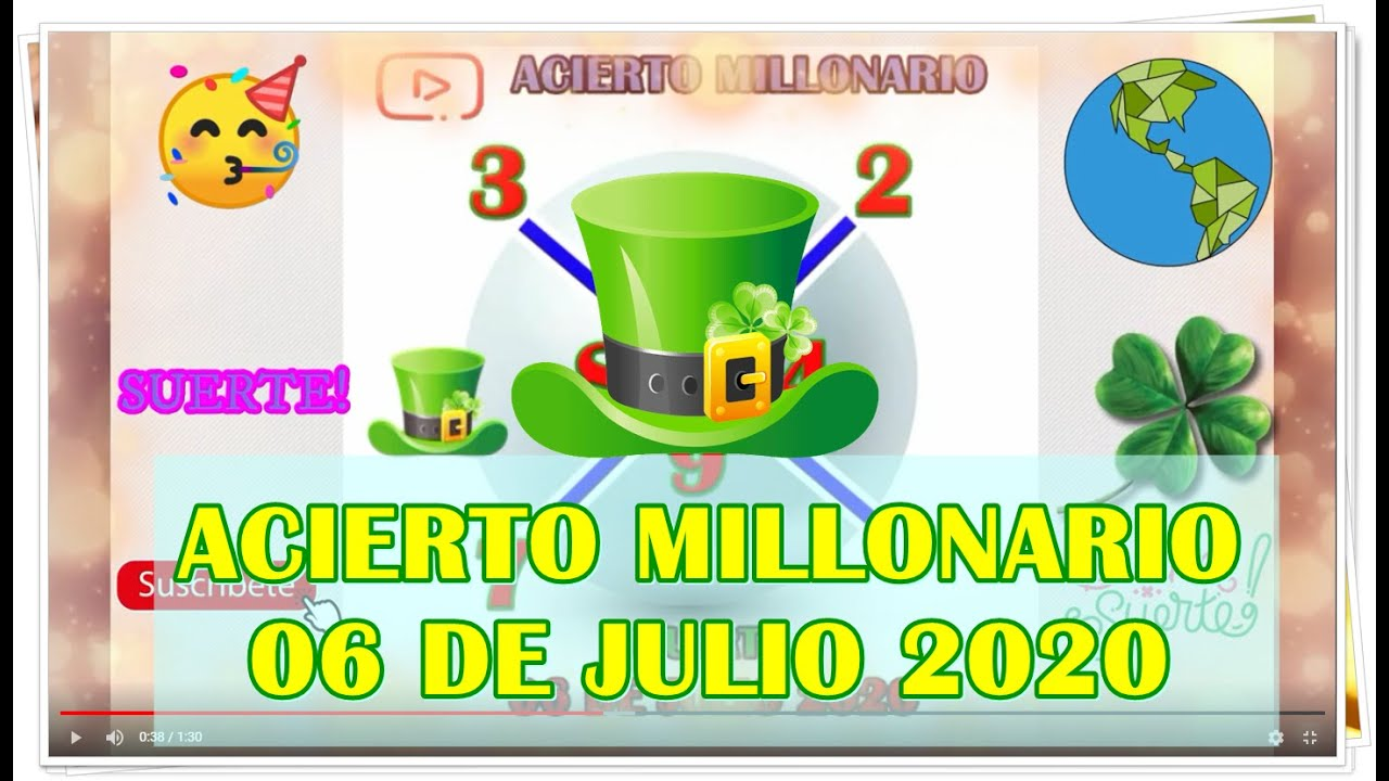 ACIERTO MILLONARIO 06 DE JULIO 2020
