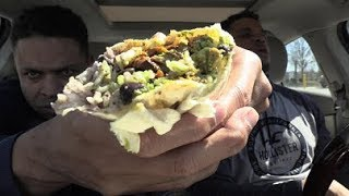 Eating Qdoba Mexican Grill Burrito @hodgetwins