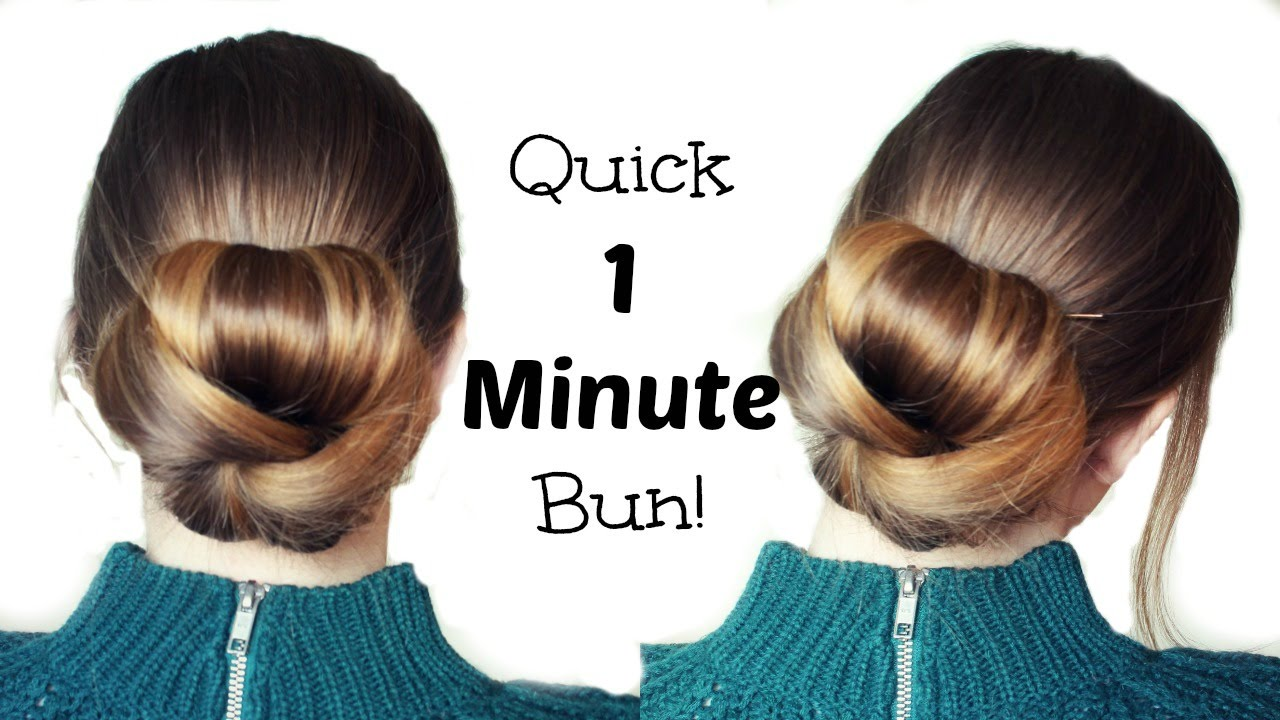 Quick and Easy 60 Second Bun Hairstyle Updo | Easy Hairstyles ...