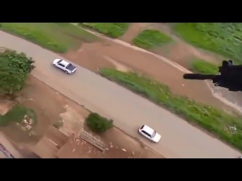 Brazilian Cops take down a fugitive from a Helicopter