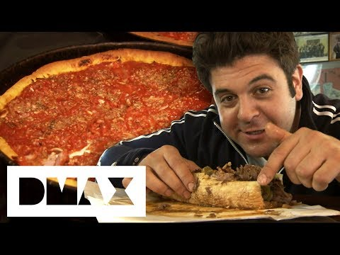 Adam Devours 2 Chicago Style Dishes: The Italian Beef Sandwich And Deep Dish Pizza | Man V Food