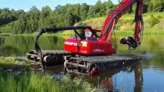 Экскаватор-болотоход землесосом очищает пруд -г.Нижнекамск 2015г