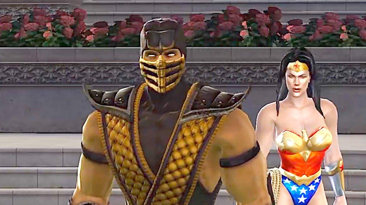 Scorpion Fights Wonder Woman Mortal Kombat 1080P
