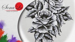 Rosas em Preto e Branco em Emborrachado por Sonalupinturas