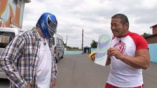 S・S・マシン選手にマスクをプレゼント!しょっぱいマスクですいません(ToT)☆中西ランド#17-1