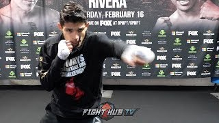 UNDEFEATED PROSPECT JERRY PEREZ SHOWING OFF FAST HANDS DURING SHADOW BOXING WORKOUT