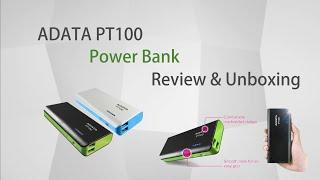 ADATA PT100 10000mAh Power Bank full reviews and unboxing (black-green)