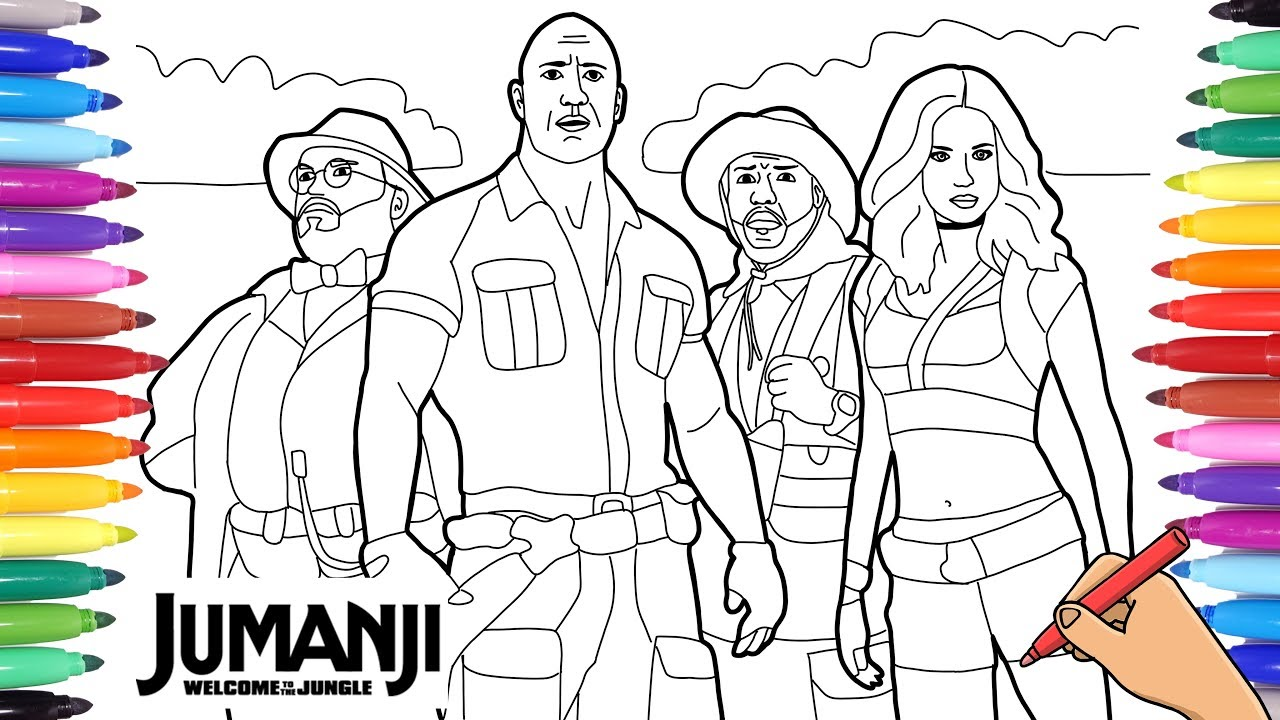Jumanji Welcome To The Jungle Coloring Pages For Kids Jumanji Movie Youtube