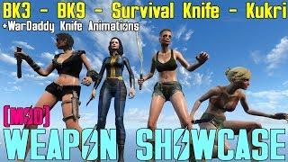 Fallout 4: Weapon Showcases: BK3, BK9, Survival Knife, Kukri (Mods)